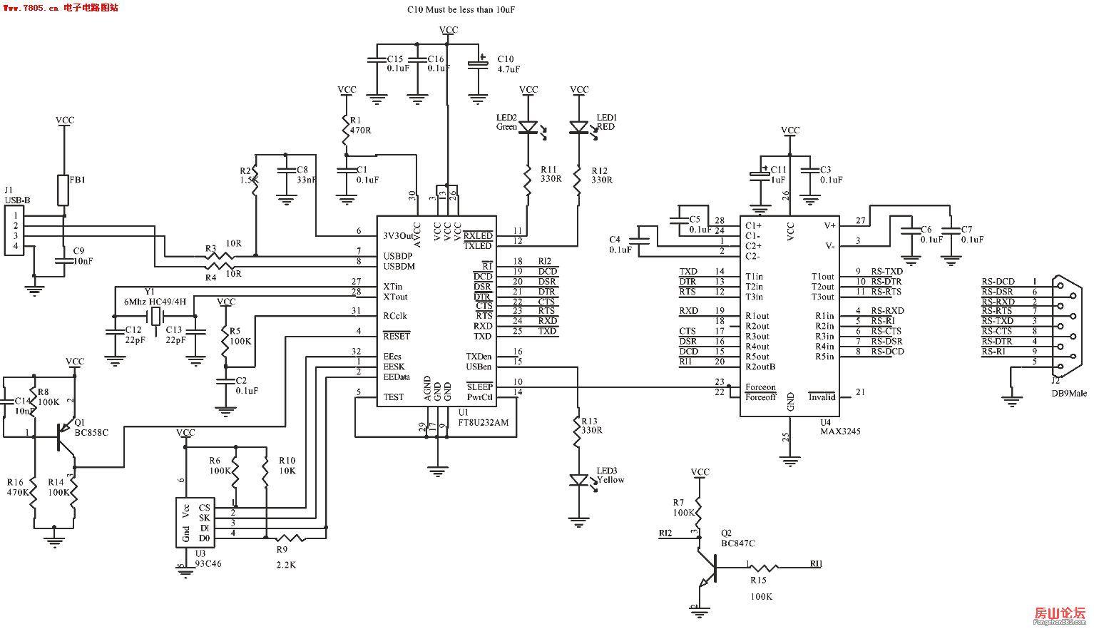 usb转串口以及232电路图[【房山论坛】暨『西南无线